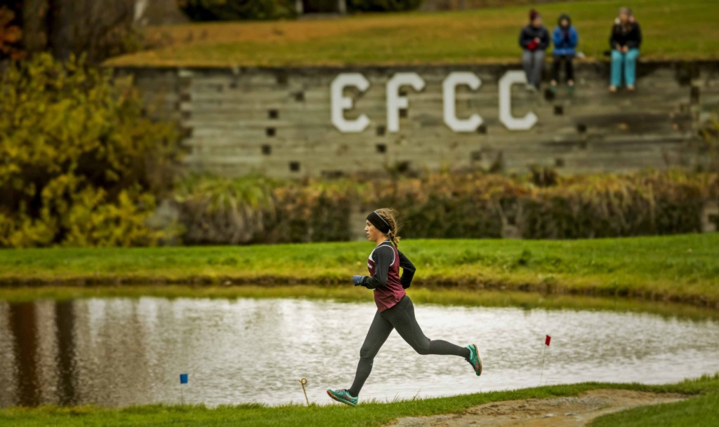 Female race winner Katie Brown leads the pack at the Enosburg Falls Country Club on October 25th. See a gallery below of all the photographs we took at the meet.